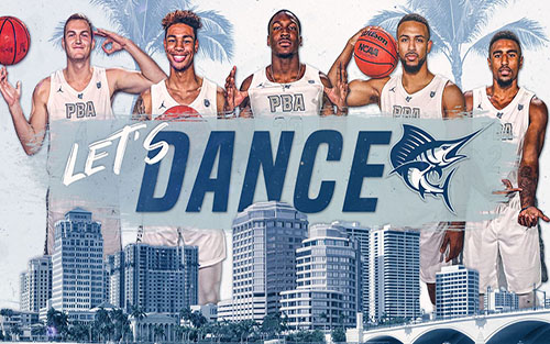 Graphic showing PBA Sailfish men's basketball team preparing for NCAA DII Tournament.