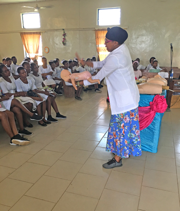 Dr. Nakisha Kinlaw leads a CPR training for West African nurses at Egbe Hospital in Nigeria.
