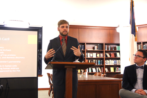 LeMieux Center for Public Policy Fellow Aaron Buch '19 presents his research about genetic editing in the Lassiter Rotunda of the Warren Library on Thursday, Oct. 3, 2019.