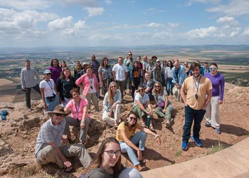 Students and faculty members pose for a photo atop Mount Precipice in Nazareth. The mountaintop is traditionally considered the spot where an angry mob tried to throw Jesus off a cliff after his Messianic proclamation in Luke 4.