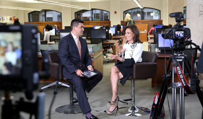 Journalism Professor Dr. J. Israel Balderas interviews Jeanine Pirro in the Warren Library in February in conjunction with the LeMieux Center for Public Policy.