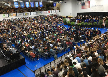 Students, faculty, staff, trustees and friends of the university filled the Rubin Arena for the Founders Day ceremony in the Greene Complex.