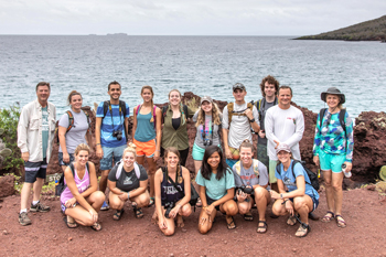Students and faculty pose for a photo on the Galápagos Islands. Thirteen students and three faculty members visited the protected islands, which are about 600 miles off mainland Ecuador. Photo by Dr. Robert Lloyd