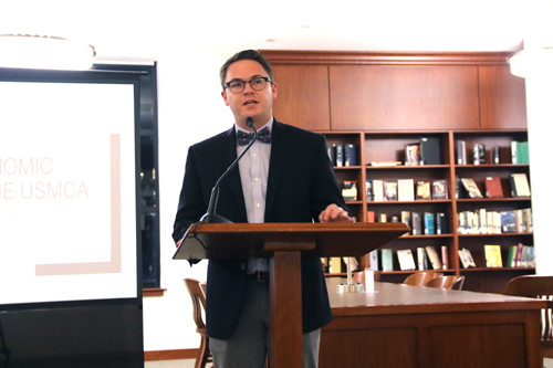 LeMieux Center for Public Policy Fellow Nate Esbenshade '19 presents his research on the United States-Mexico-Canada Agreement in the Lassiter Rotunda of the Warren Library on Thursday, Oct. 3, 2019.