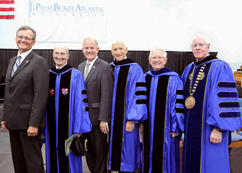 From left: Patrick Moody, son of founding President Jess Moody; Dr. George Borders; Claude H. Rhea III, Dr. Paul R. Corts, Dr. David Clark and President William M. B. Fleming, Jr. pose for a photo at the 50th Anniversary Founders Day celebration.