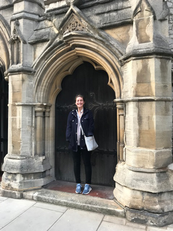 Taylor Sims '12 visits a church in England while conducting doctoral research on the everyday women of the Reformation. She received a $5,000 grant to spend two months visiting three archives in southern England.