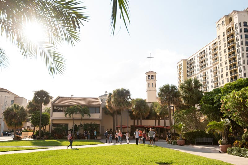 Looking across Palm Beach Atlantic University's Rinker Green to the Lassiter Student Center.