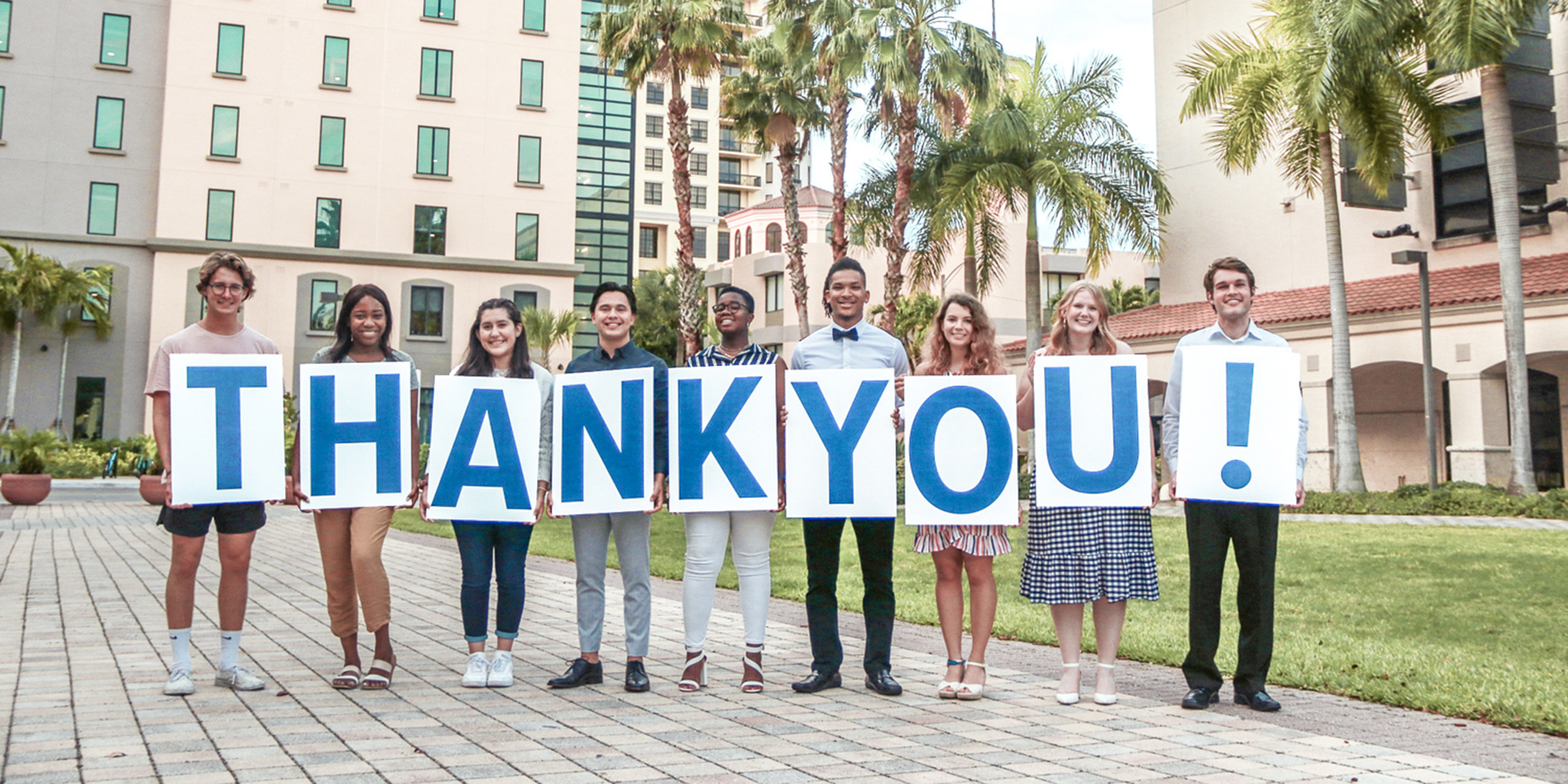 PBA students holding thank you sign
