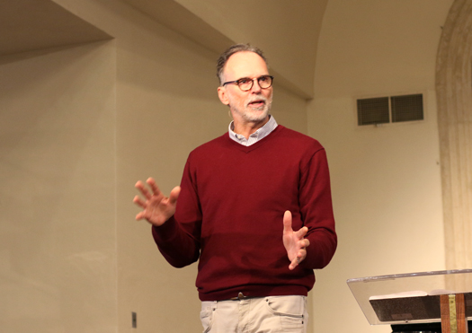 "God & Work Founder Roland Heersink, a guest of Dr. Sam Voorhies and the Center for Biblical Leadership, speaks to students in chapel about ""The Wrong Way to Find the Right Job."" Heersink's passion is equipping Christians to live out their faith in the workplace."