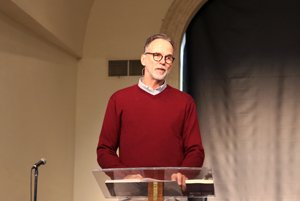 God & Work founder Roland Heersink, a guest of the Center for Biblical Leadership, speaks to students during chapel. He spoke to graduate students in the evening.
