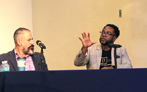 Author and national speaker Jemar Tisby answers a question as Dr. Oscar García-Johnson listens during a panel discussion in the DeSantis Family Chapel as part of the Jess Moody Faith & Culture Forum on Thursday, Feb. 23, 2020.