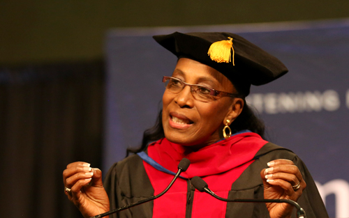 Commencement speaker Dr. Madeline Manning Mims, a decorated Olympian and chaplain to professional athletes, talks about the life-changing experience of finding her purpose.