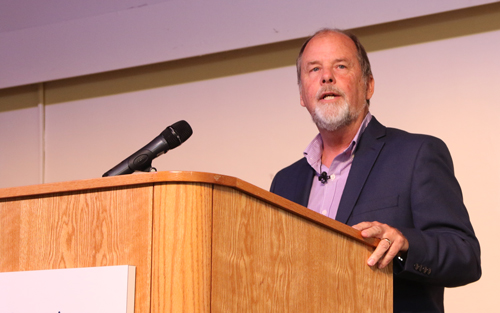 Psychology Professor Dr. Don McCulloch elaborates on what it means to be a Christian psychologist during an installment of the Christian University lecture series on Tuesday, Feb. 18, 2020.
