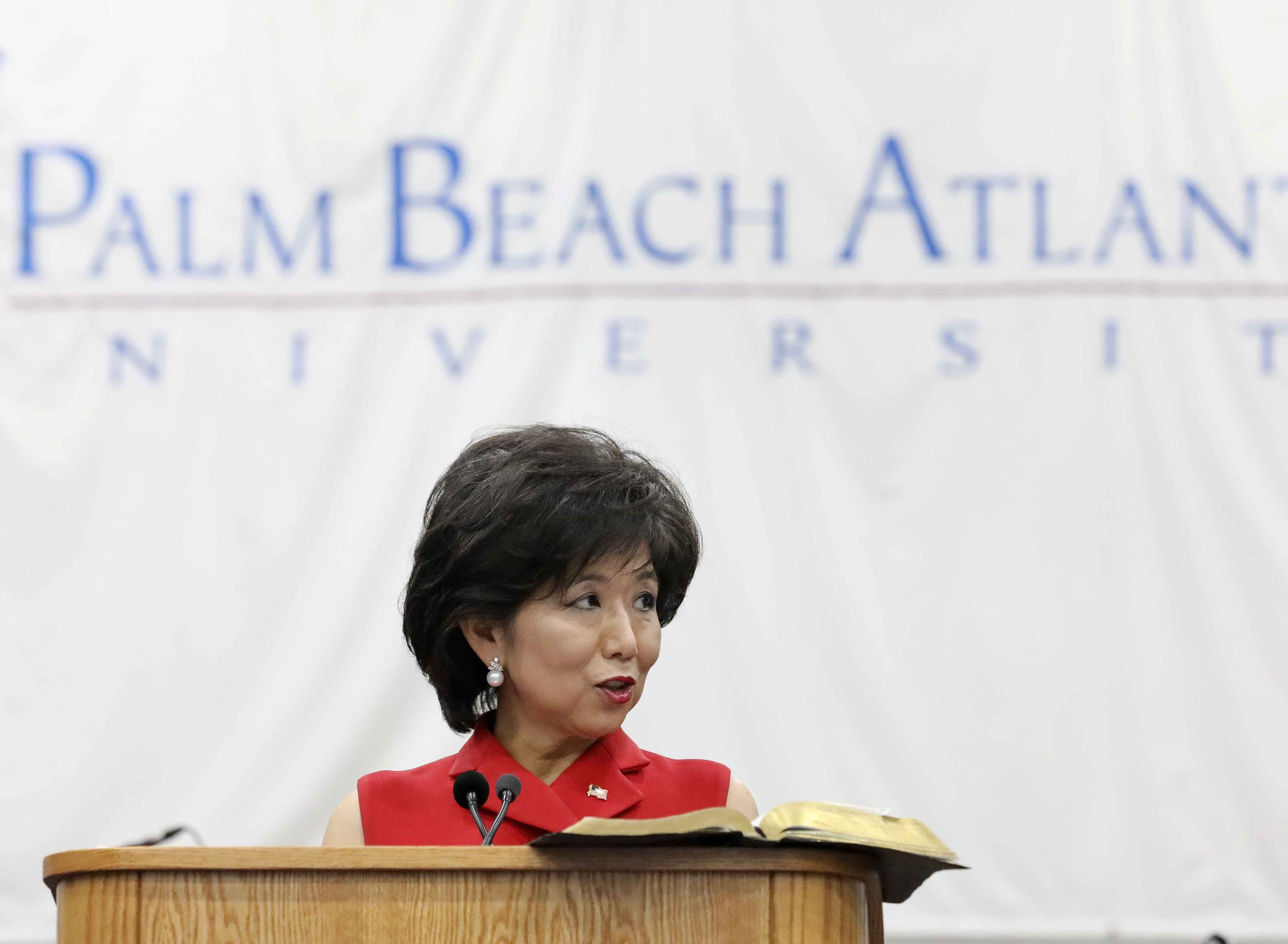 Cognosante founder and CEO Michele Kang speaks at Palm Beach Atlantic during American Free Enterprise Day on November 14, 2019, when the University honored her with its American Free Enterprise Medal.