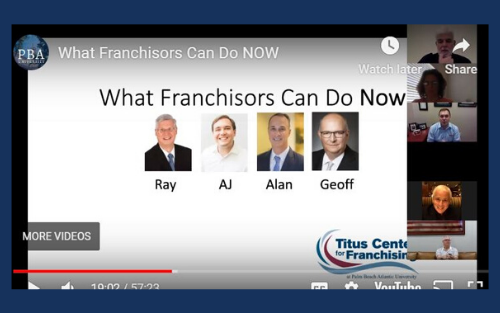 Titus Center Advisory Board members Ray Titus, A.J. Titus, Alan Burger and Geoff Seiber participated in the first webinar on adapting to coronavirus challenges.