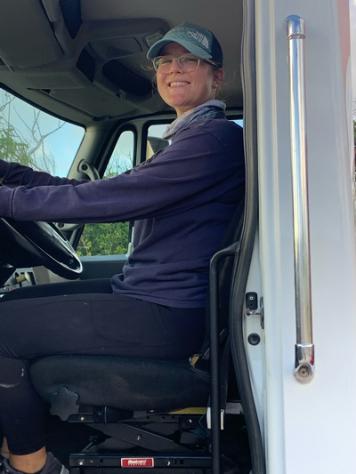Abby Phillpot, a senior studying environmental science, operated heavy machinery for Samaritan's Purse over her spring and summer breaks. She rebuilt Guana Cay's dune, which was destroyed by Hurricane Dorian, and hauled debris in a grapple truck.