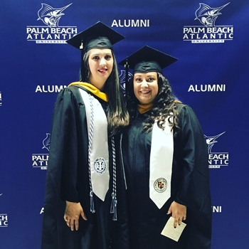 Elexenia Moya, left, is a two-time PBA graduate and mental health counselor. She asked if PBA could donate computers for low-income students at her school to do their distance learning, and PBA gave 30 computers.
