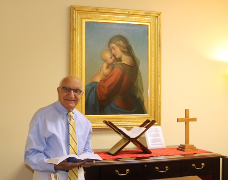 "Dr. Wagdy Wahba, associate professor of pharmaceutical sciences emeritus, smiles for a photo inside the Lloyd L. Gregory School of Pharmacy's Wahba Chapel. The faculty, staff, students and alumni of the school dedicated the chapel in 2010 in recognition of the ""profound spiritual impact"" he has had in their lives."