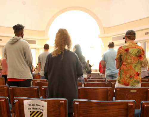 Students gather for chapel services during the first week of classes. University President Dr. Debra A. Schwinn was the chapel speaker.
