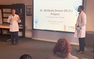 Johns Hopkins University hosts students from Baltimore for workshops that use the McNeelys' Dream Project curriculum.