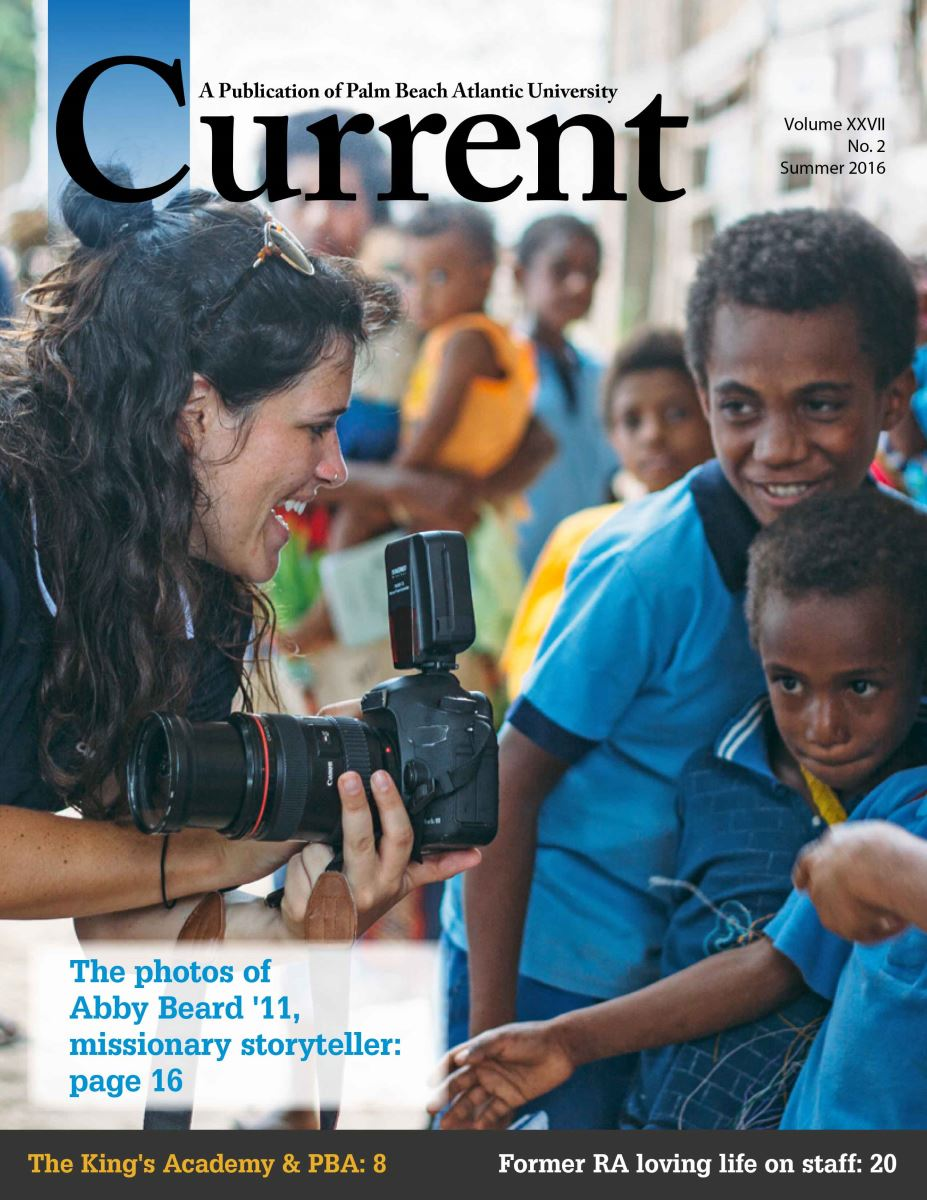 The cover of the Summer 2016 Current alumni magazine focuses on Amy Beard and her use of photography as part of her missions work.