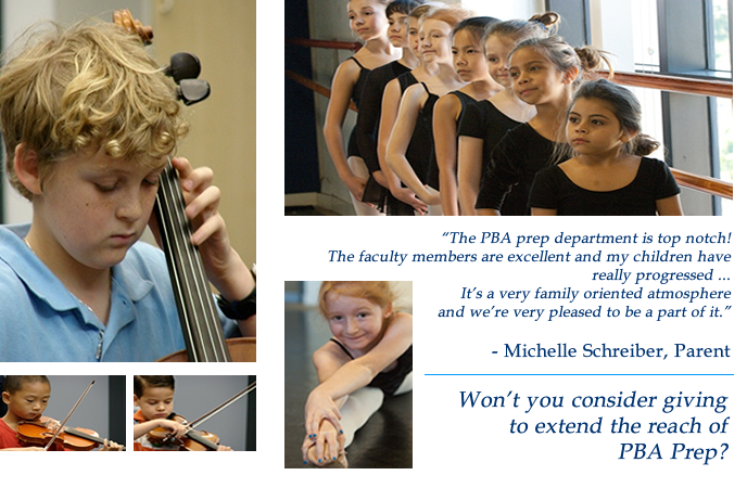 Graphic showing youngsters participating in the Palm Beach Atlantic University Preparatory Program for music and dance. PBA is an accredited, Christ-centered college in West Palm Beach, Florida.